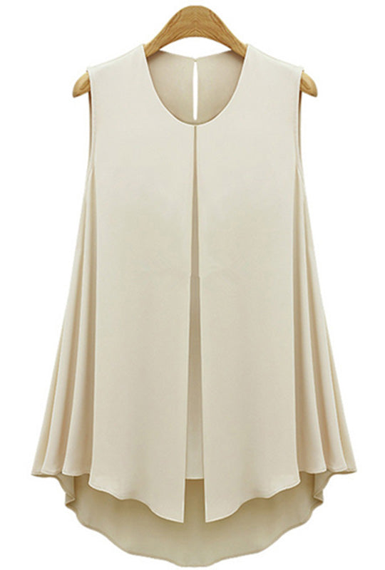 Split Front Chiffon Sleeveless Top Blush