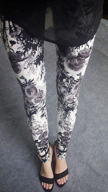 Leggings Grey & Black Floral