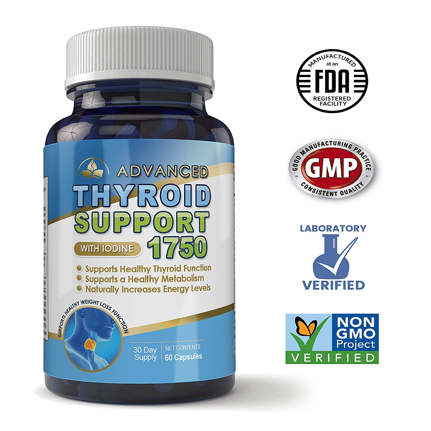 Advanced Thyroid Support Complex with Iodine 1750 mg - Helps Support Healthy Weight Loss, Metabolism, Energy Levels - 60 Capsules - Includes Bonus Diet eBook