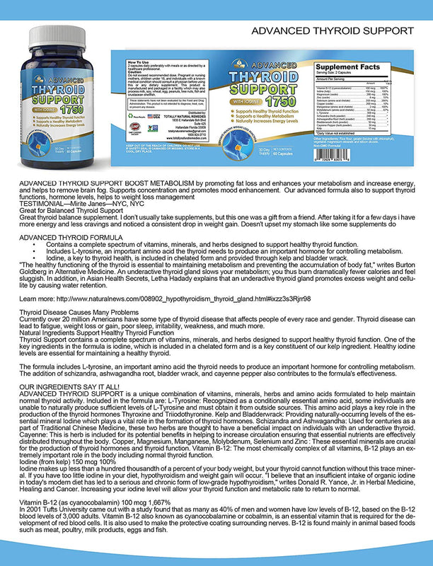 Advanced Thyroid Support Complex with Iodine 1750 mg - Helps Support Healthy Weight Loss, Metabolism, Energy Levels - Includes Bonus Diet eBook