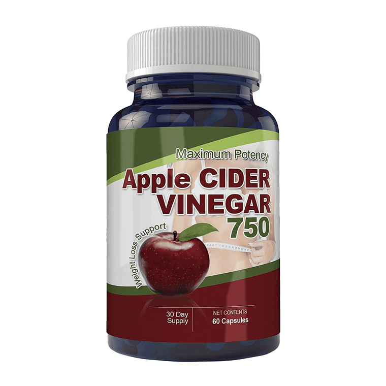 Maximum Potency 750mg Apple Cider Vinegar Capsules (60 Count)
