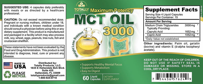 Maximum Potency 100% Pure MCT Oil Capsules - 3000mg (60 Cold Pressed Softgels)
