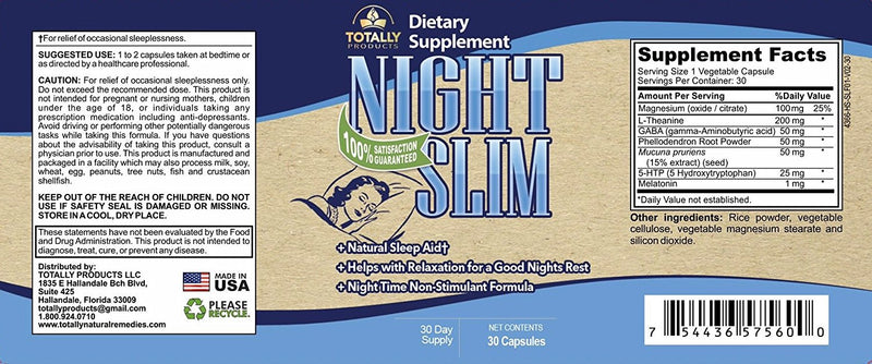 Night Slim All Natural Sleep Aid (30 Non-Habit Forming Capsules)