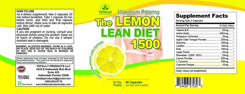 The Lemon Lean Diet - Maximum Potency 1500mg Advanced Weight Loss Support (60 Capsules)
