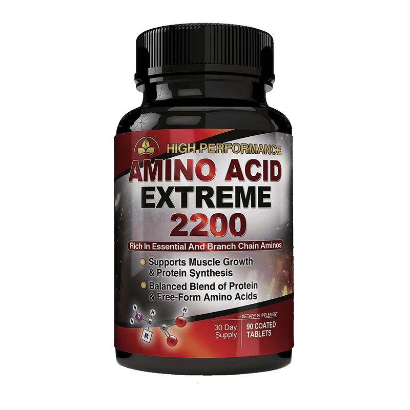 BCAA Amino Acid Extreme 2200 mg - High Performance Branch Chain Amino Acid Formula (90 Capsules)