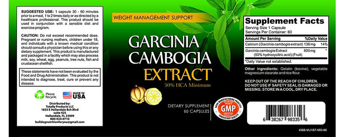 Maximum Potency 100% Pure Garcinia Cambogia 800mg HCA Extract (60 Capsules)