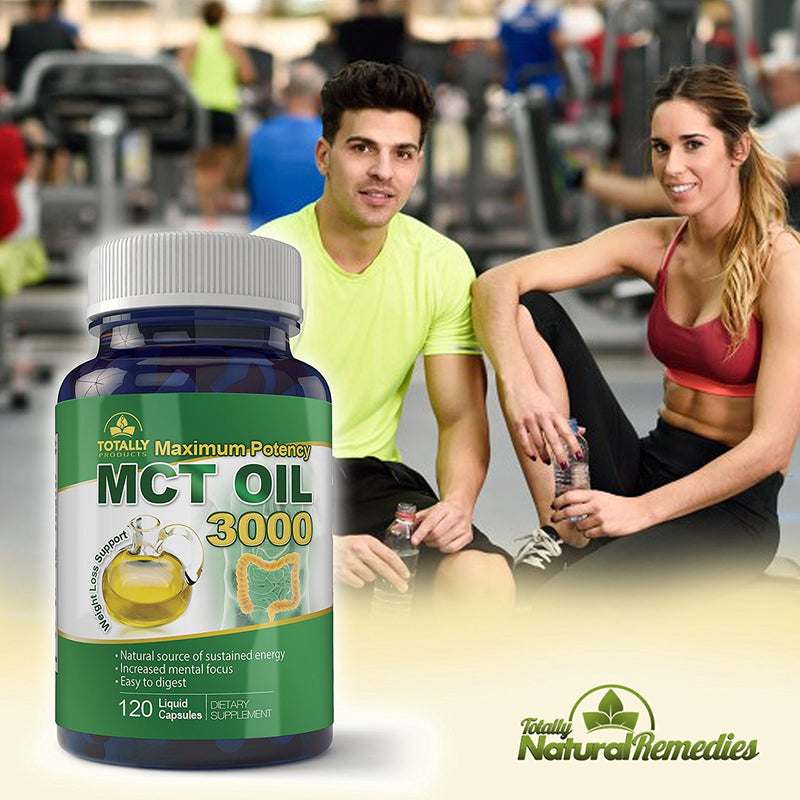Maximum Potency 100% Pure MCT Oil Capsules - 3000 mg - 120 Cold Pressed Softgels