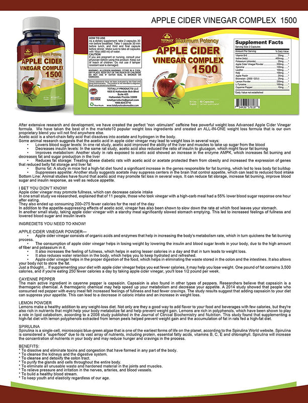 Maximum Potency 1500mg Apple Cider Vinegar Complex (60 Capsules)