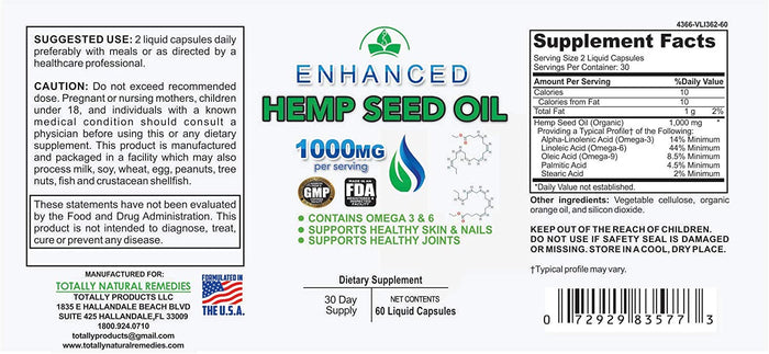 Enhanced Hemp Seed Oil Capsules 1000MG Pure Hemp Extract per Serving: Pain, Stress & Anxiety Relief - Sleep, Mood & Joint Support: Rich in Omega 3-6-9