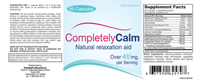 Completely Calm 60 - Stress Reliever - Mood Enhancing Dietay Supplement