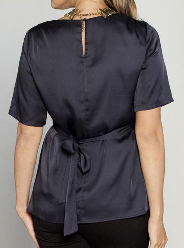 Maternity Tie Back Dressy Short Sleeve Evening Top - Gun Metal