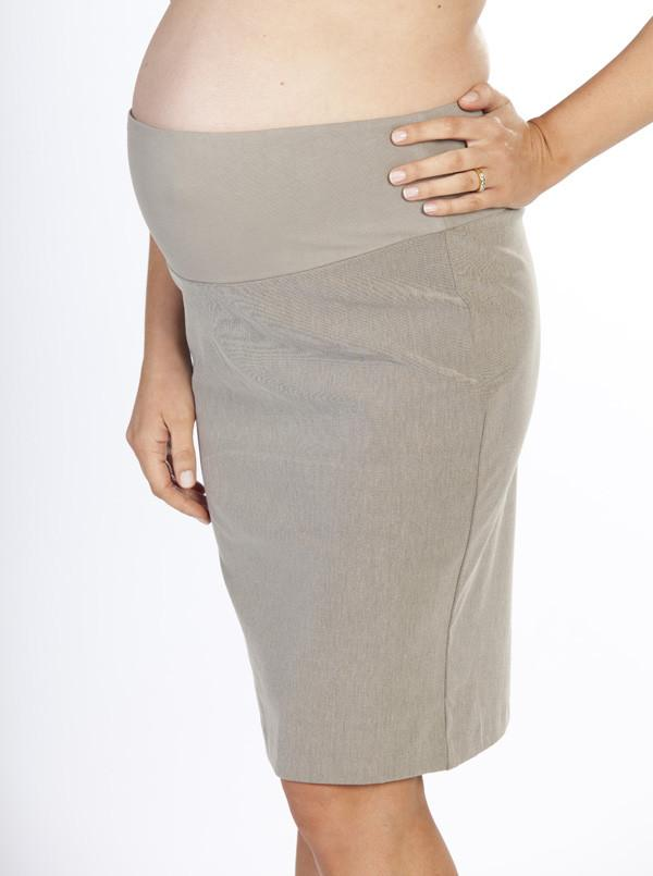 Angel Maternity Straight Cut Maternity Work Skirt in Light Taupe