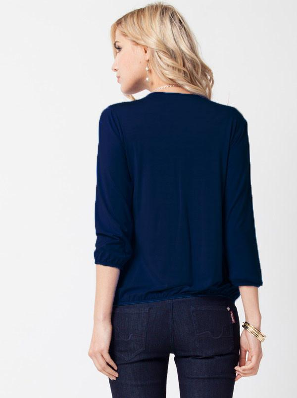 Breastfeeding Zipper Front Nursing Blouse in Navy - Angel Maternity - Maternity clothes - shop online