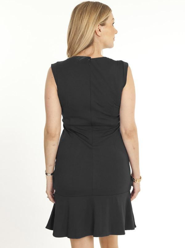 Maternity Keyhole Front Pleated Dress - Black - Angel Maternity - Maternity clothes - shop online