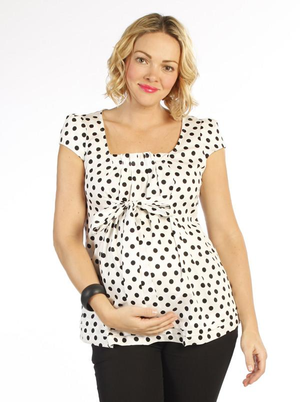 Angel Maternity sweet tie front maternity top in White & Black Dots