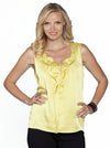 Angel Maternity Sleeveless Chiffon Dressy Top - Mustard