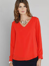 Breastfeeding Top: Layered Chiffon Nursing V-Neck Blouse - Tangerine - Angel Maternity - Maternity clothes - shop online