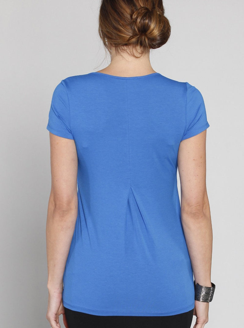 Breastfeeding Petal Front Short Sleeve Nursing Top  - Blue - Angel Maternity - Maternity clothes - shop online