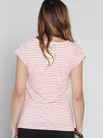Breastfeeding Double Lining Nursing Top - Red Stripes - Angel Maternity - Maternity clothes - shop online