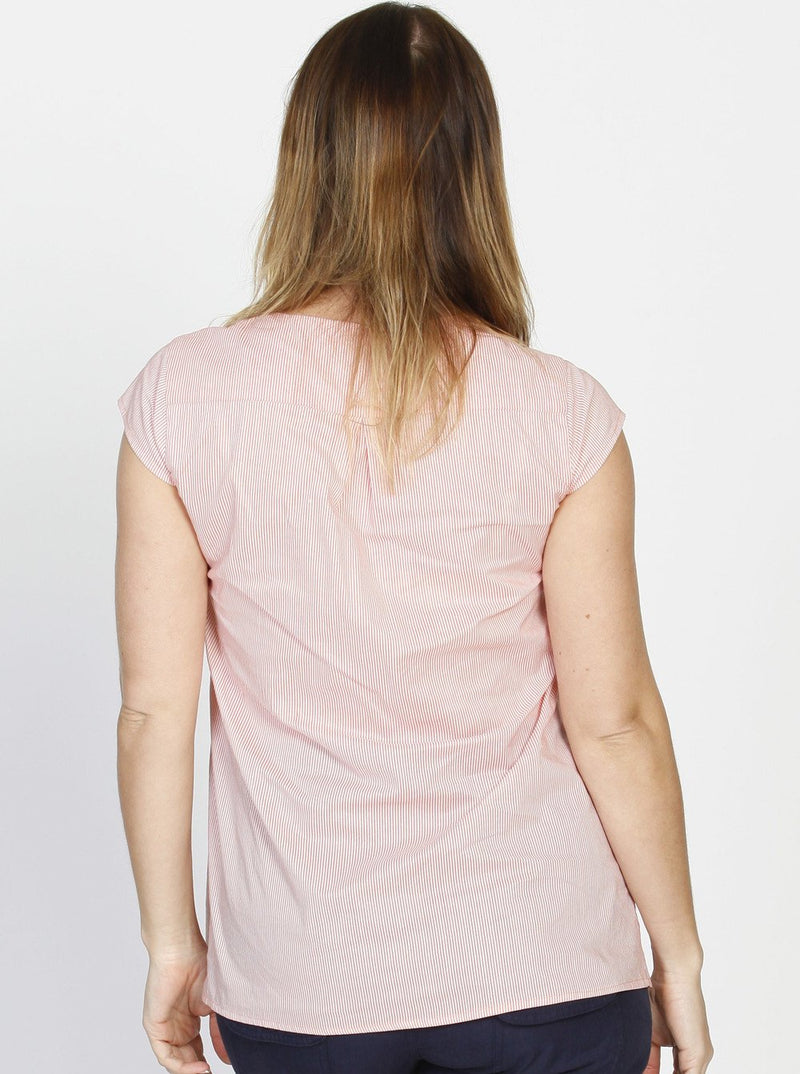 Breastfeeding Button Front Loose Fit Cotton Top - Peach Stripes - Angel Maternity - Maternity clothes - shop online