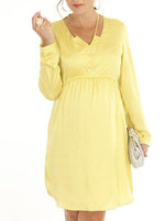 Maternity Party Dress with V Neckline Details - Mustard