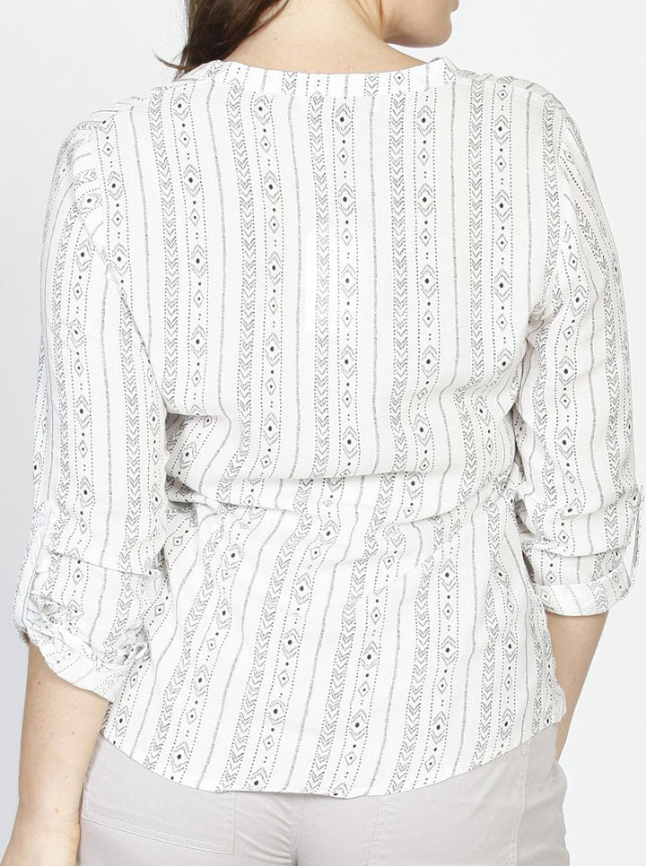 Maternity Roll Up Long Sleeve Shirt - Vertical Print