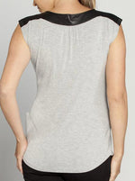 Little Jersey Top - Grey With Black neckline