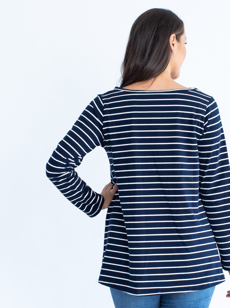Maternity Cotton Swing Long Sleeve Tee Top - Stripes