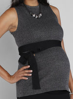 Maternity Sleeveless Knitted Top with Black Tie Waist - Grey