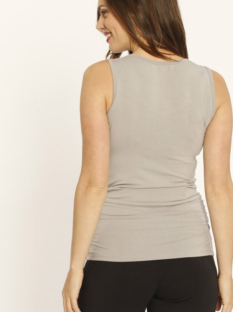 Maternity Bamboo Fitted Tank with Side Ruching - Grey back
