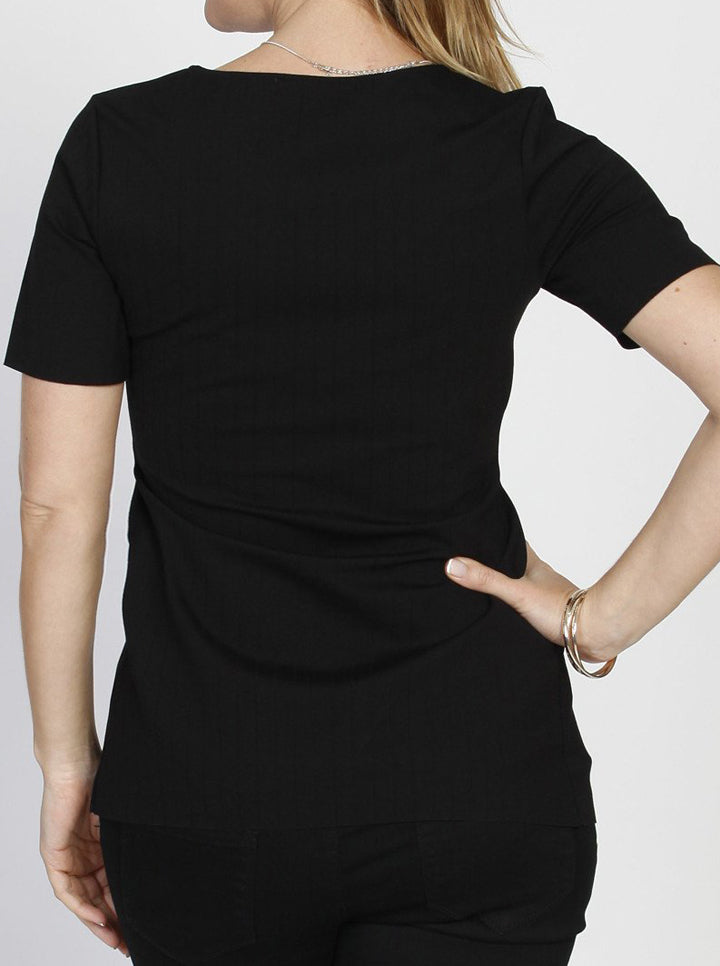 Maternity Short Sleeve Work Top with Tie Waist - Black