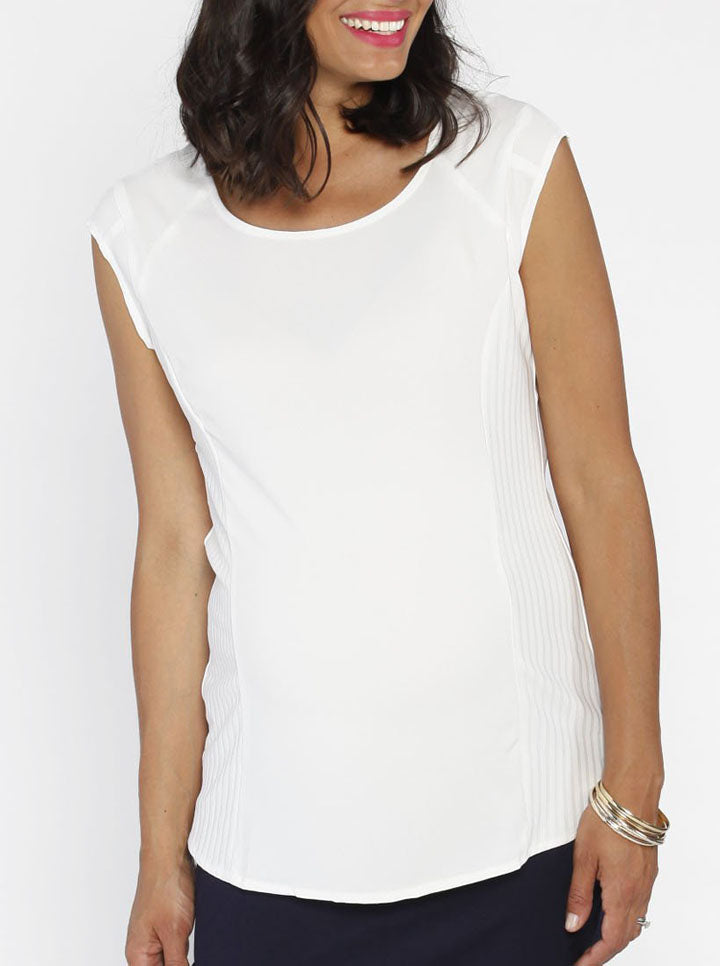 Maternity Stretchy Round Neck Work Top in White
