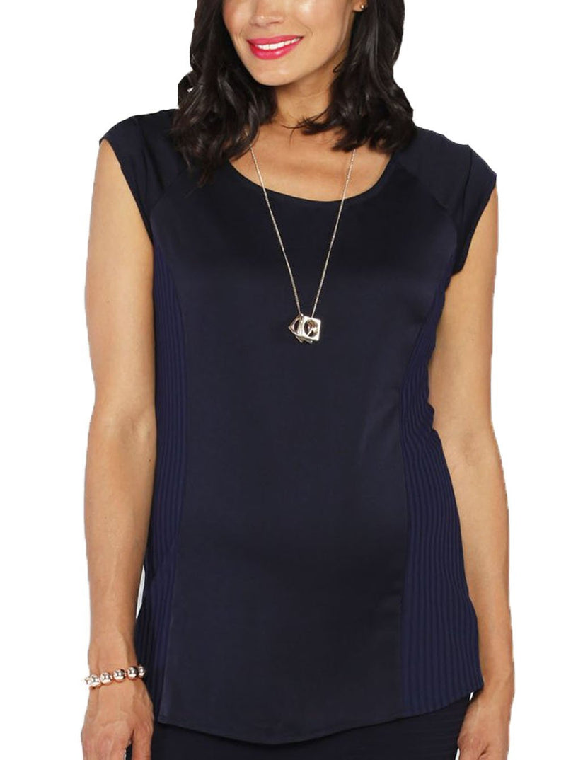 Maternity Stretchy Round Neck Top in Navy