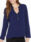 Breastfeeding Long Sleeve Zip Front Work Blouse in Navy