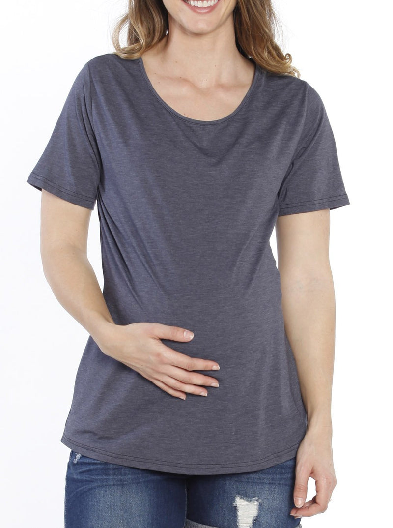 Maternity Adjustable Cross String Back Casual Cotton Top - Navy - Angel Maternity - Maternity clothes - shop online