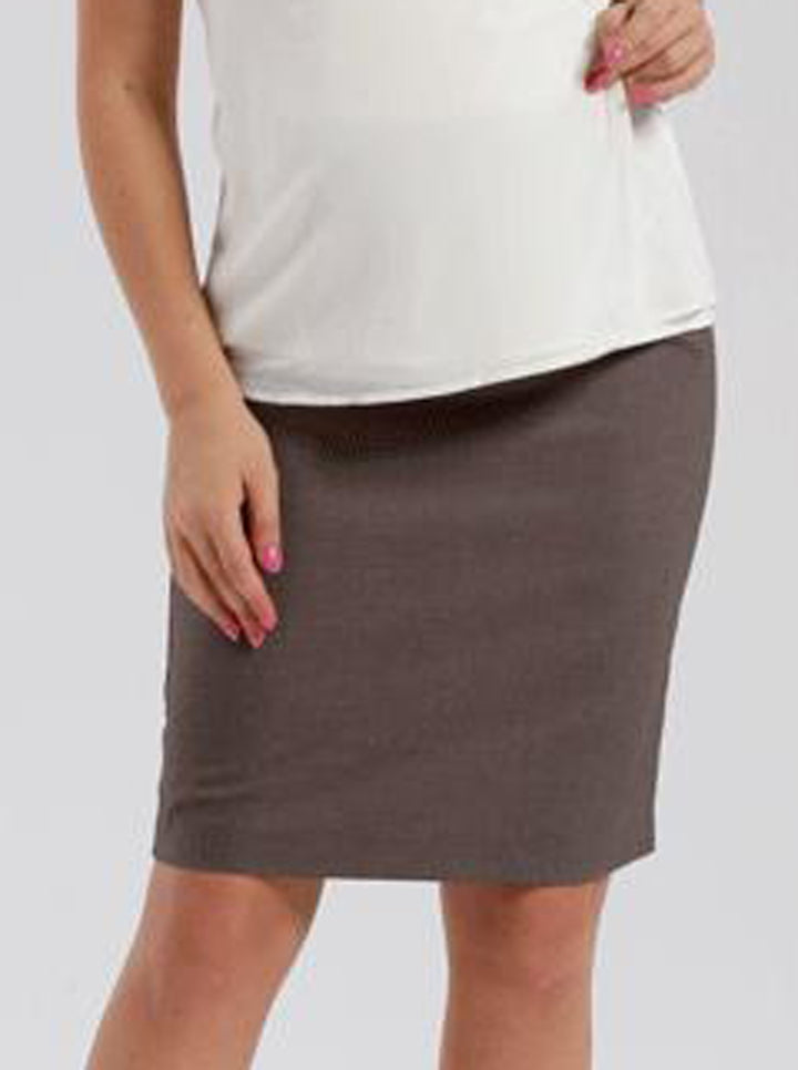 Maternity Skirt in Classic Straight Cut - Taupe