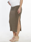 Maternity Side Ruching High Waist Maxi Skirt - Khaki