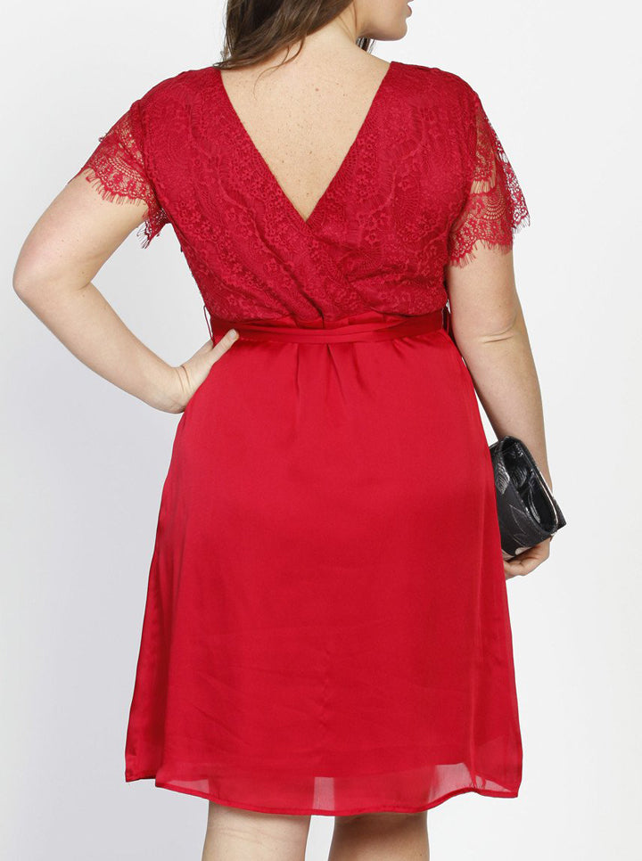 Emily Maternity Mid Length Lace Party Dress - Red