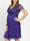 Maternity Mid Length Lace Party Dress - Violet