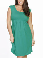 Lucy Cap Sleeve Little Cotton Dress - Jade Green