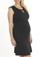 Maternity Keyhole Front Pleated Dress - Black