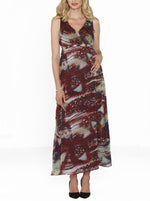 Maternity Party Long Chiffon Dress - Pink/ Orange/ Red Prints