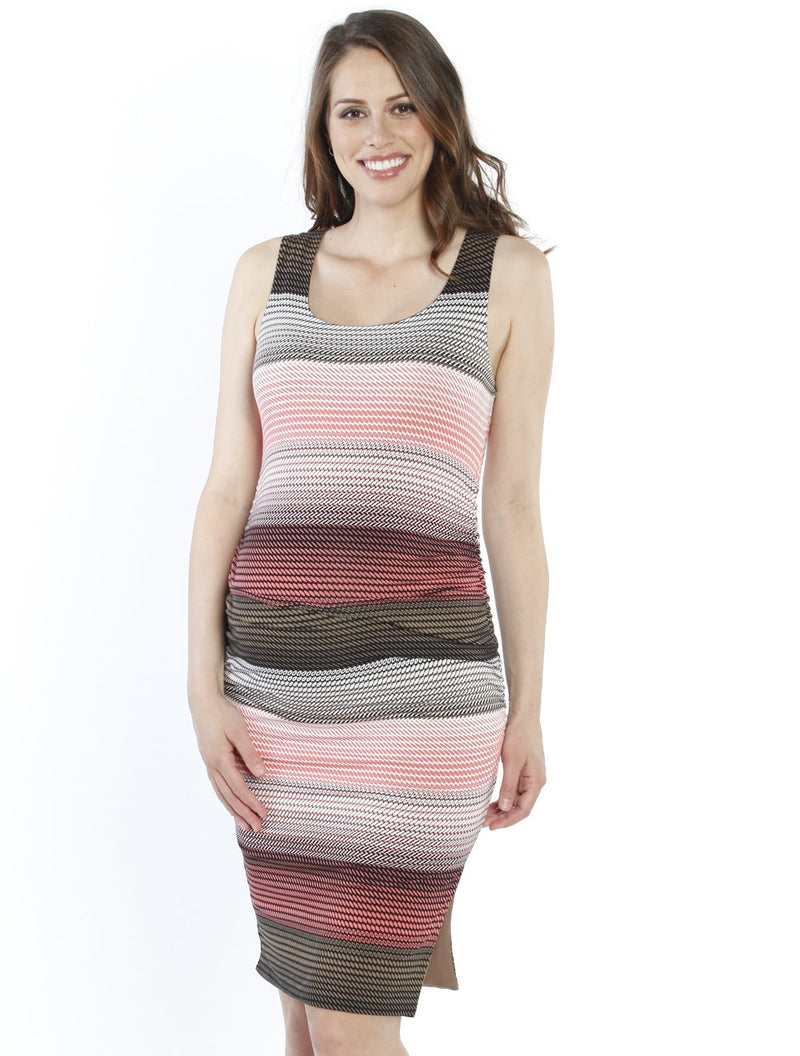 REVERSIBLE MATERNITY DRESS IN Khaki & Pink Print front