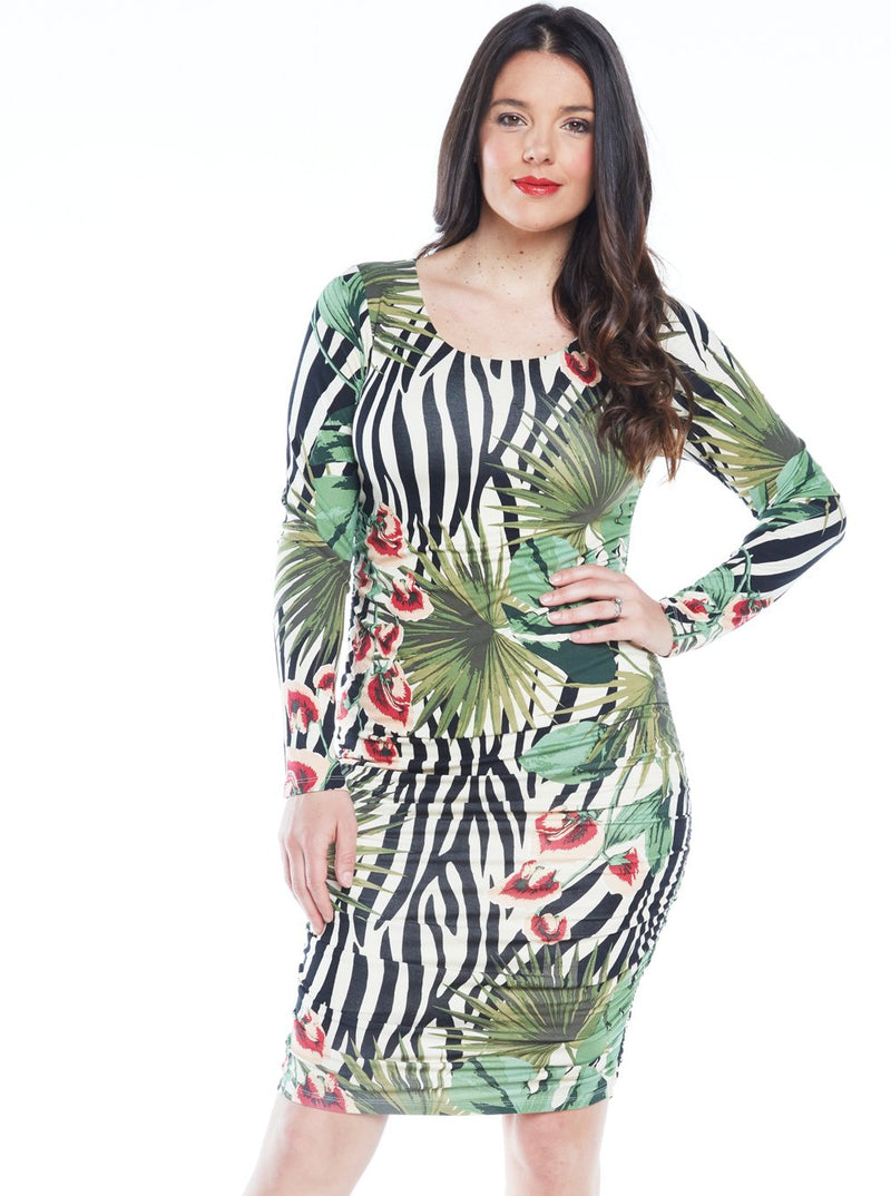 Maternity Bodycon Long Sleeve Print Dress - Green Print