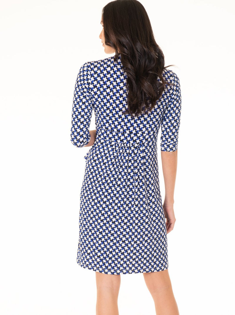 Maternity Mock Wrap Half Sleeve Dress - Blue & White