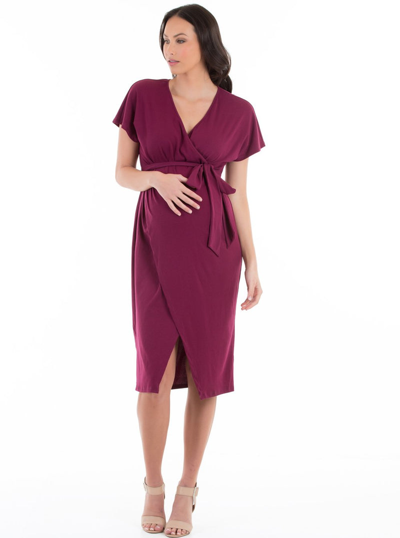 Wrap Maternity & Nursing Dress in Black