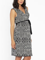 Maternity Reversible Wrap Nursing Dress - Black & Tribal Print