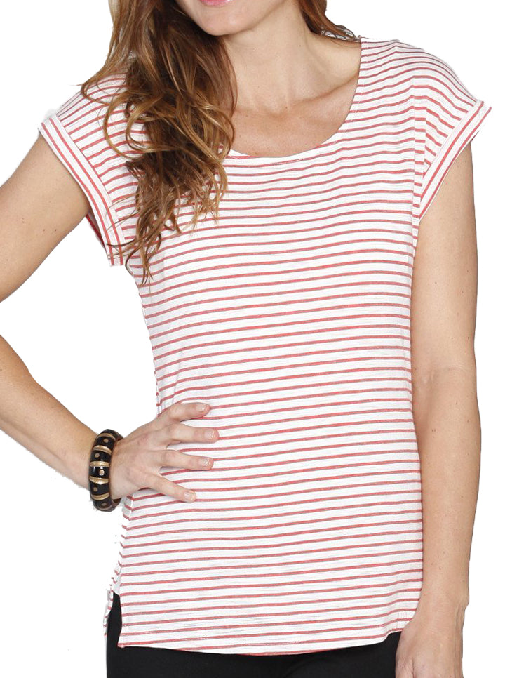 Breastfeeding Double Lining Nursing Top - Red Stripes