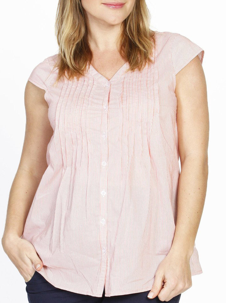 Breastfeeding Button Front Loose Fit Cotton Top - Peach Stripes