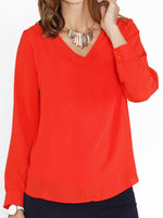 Breastfeeding Top: Layered Chiffon Nursing V-Neck Blouse - Tangerine